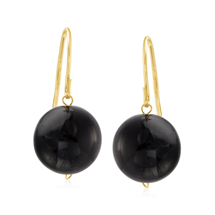 12mm Black Onyx Drop Earrings with 14kt Yellow Gold