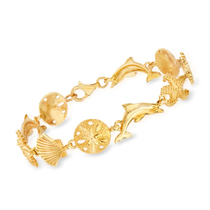 18kt Gold Over Sterling Sea Life Link Bracelet