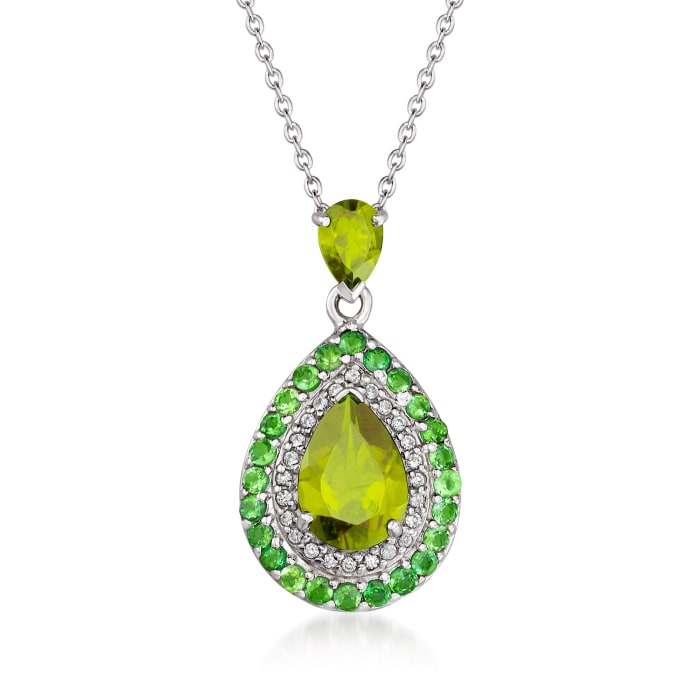 3.50 ct. t.w. Multi-Gemstone Halo Pendant Necklace in Sterling Silver