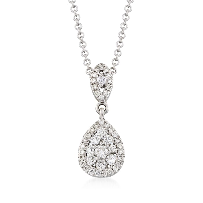 Gabriel Designs .33 ct. t.w. Diamond Drop Necklace in 14kt White Gold