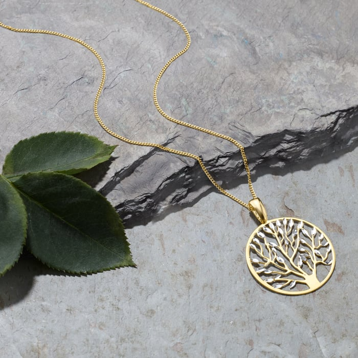 Italian 18kt Gold Over Sterling Cut-Out Tree of Life Pendant Necklace