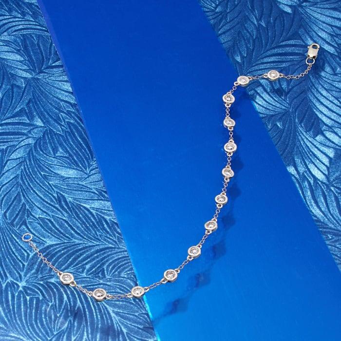 1.00 ct. t.w. Bezel-Set Diamond Station Bracelet in 14kt White Gold