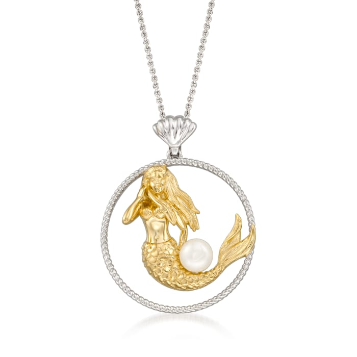 6.5-7mm Cultured Pearl Mermaid Pendant Necklace in Two-Tone Sterling Silver