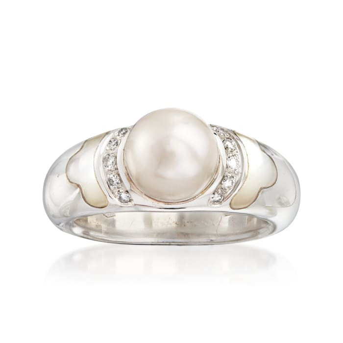 C. 1990 Vintage Cultured Pearl, Mother-Of-Pearl and .10 ct. t.w. Diamond Ring in 18kt White Gold