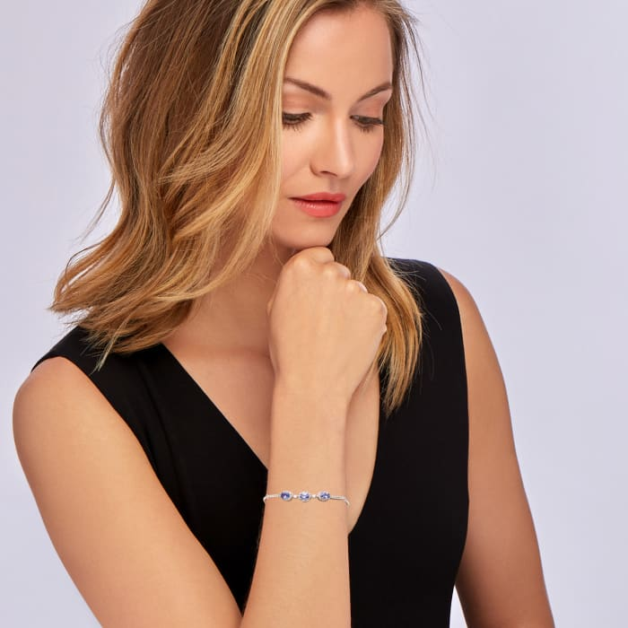 1.35 ct. t.w. Tanzanite and .70 ct. t.w. White Zircon Bolo Bracelet in Sterling Silver