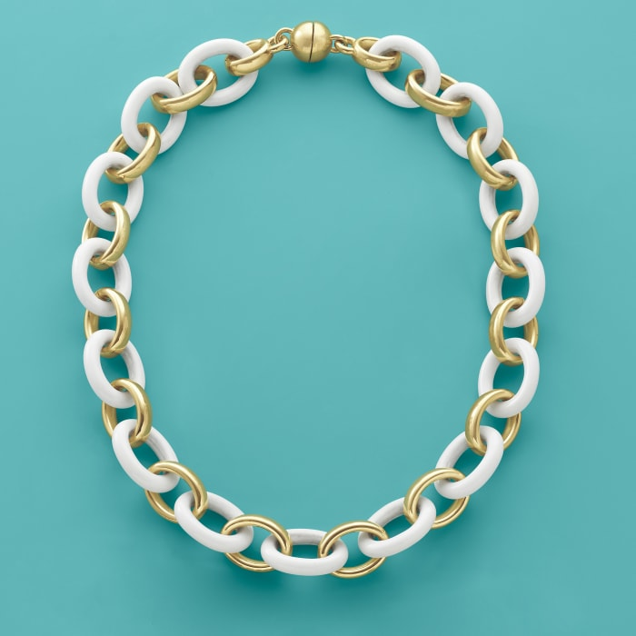 Andiamo 14kt Yellow Gold Over Resin and White Agate Link Necklace