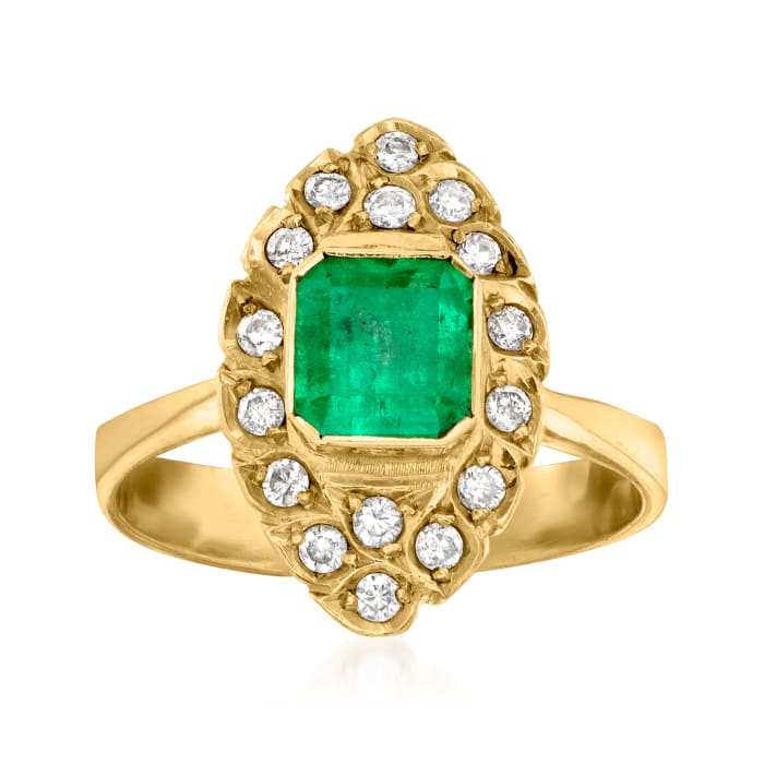 C. 1975 Vintage .90 ct. t.w. Emerald and .35 ct. t.w. Diamond Navette Ring in 18kt Yellow Gold