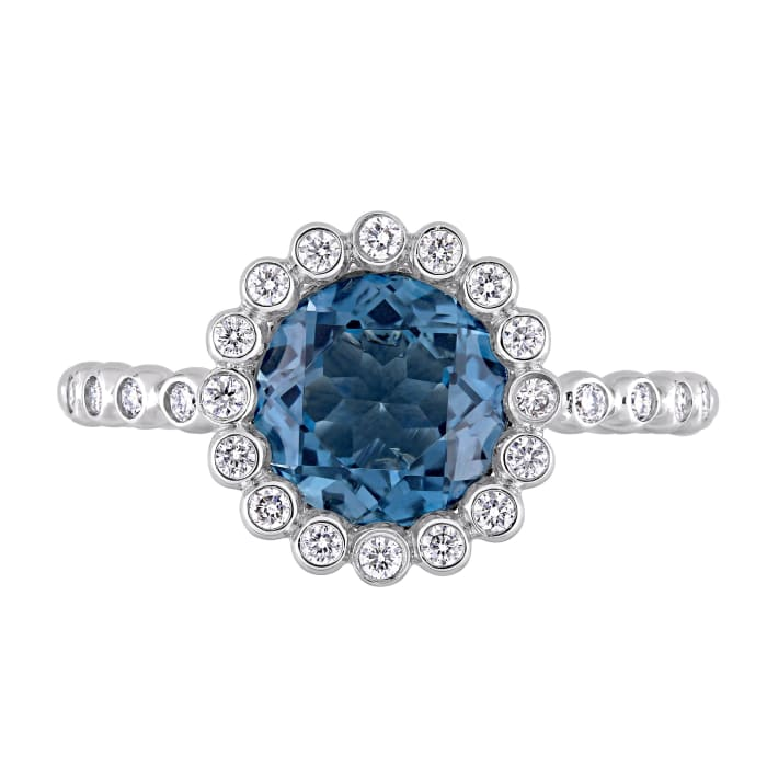 2.20 Carat London Blue Topaz and .23 ct. t.w. Diamond Ring in 14kt White Gold