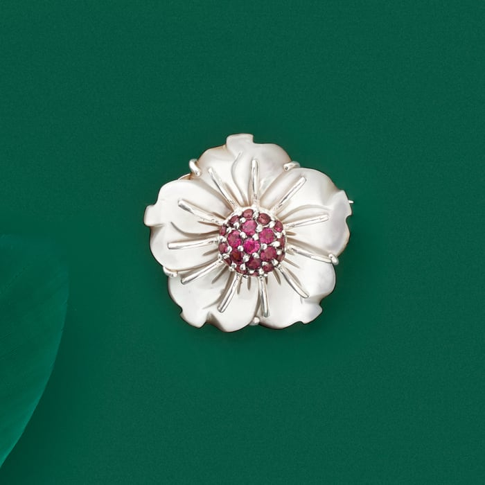 Mother-Of-Pearl and 2.00 ct. t.w. Rhodolite Garnet Flower Pin in Sterling Silver