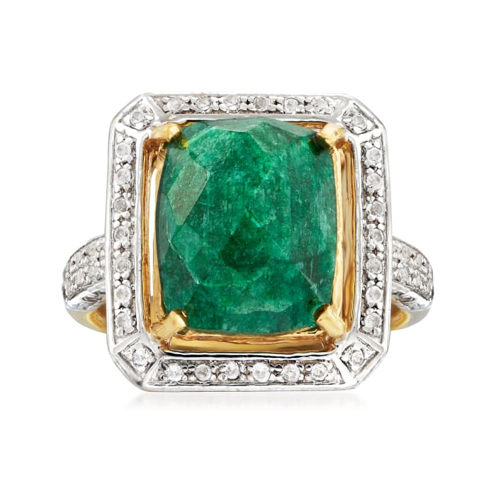 4.70 Carat Emerald and .40 ct. t.w. White Topaz Ring in 14kt Gold Over Sterling