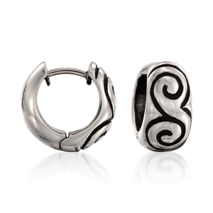 "Zina Sterling Silver ""Swirl"" Hoop Earrings"