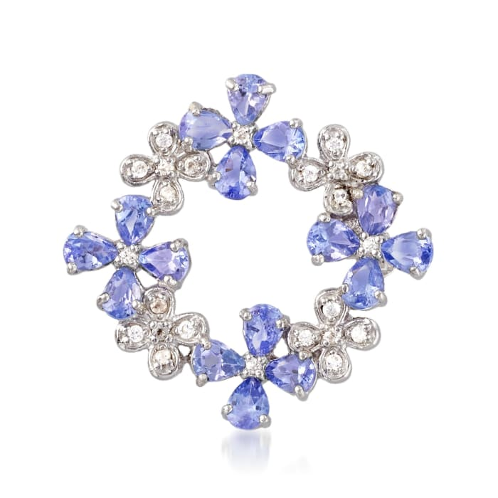 2.20 ct. t.w. Tanzanite and .10 ct. t.w. White Zircon Floral Pin in Sterling Silver