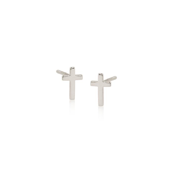 Child's 14kt White Gold Cross Earrings