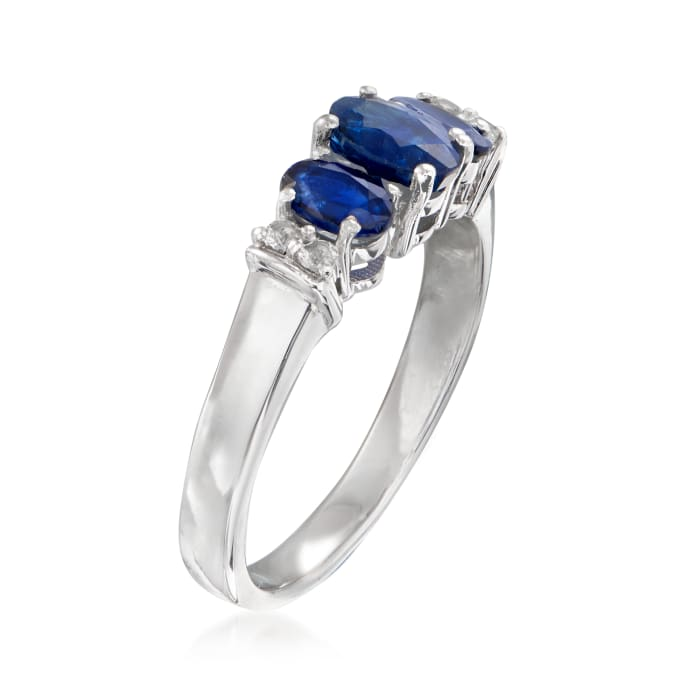 .88 ct. t.w. Sapphire Ring with White Topaz Accents in Sterling Silver