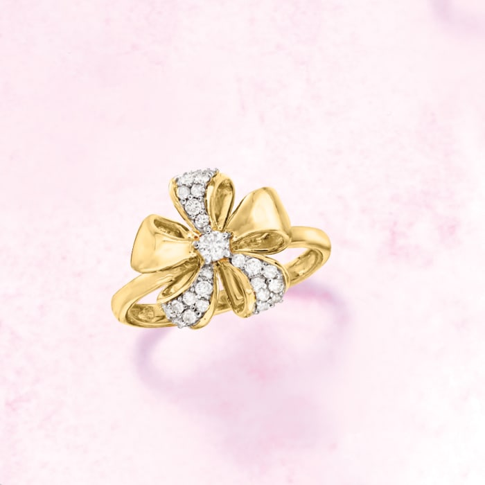 .25 ct. t.w. Diamond Flower Ring in 14kt Yellow Gold