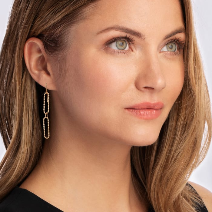 14kt Yellow Gold Twisted Paper Clip Link Drop Earrings