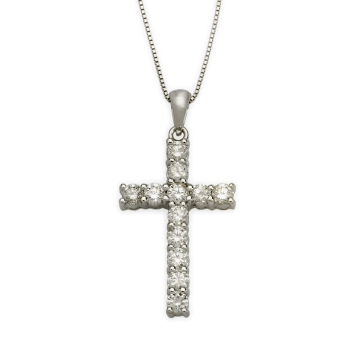 1.00 ct. t.w. Diamond Cross Necklace in 14kt White Gold