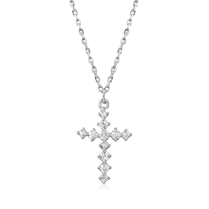 .20 ct. t.w. CZ Cross Necklace in Sterling Silver