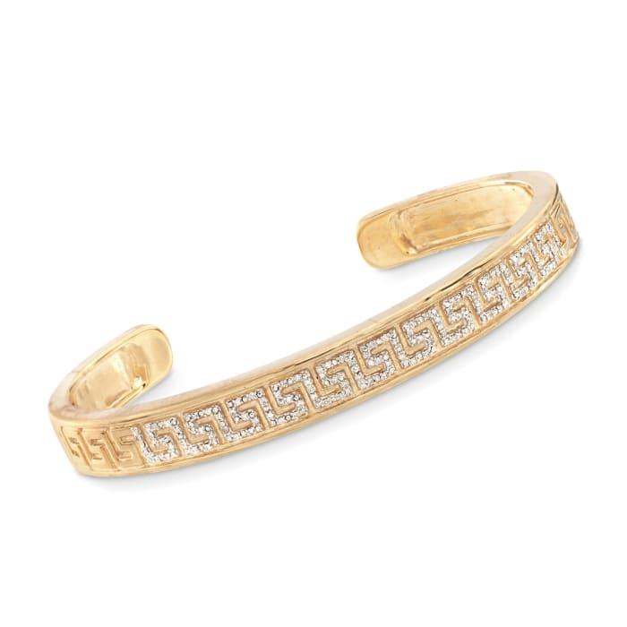 .20 ct. t.w. Diamond Greek Key Cuff Bracelet in 18kt Gold Over Sterling Silver