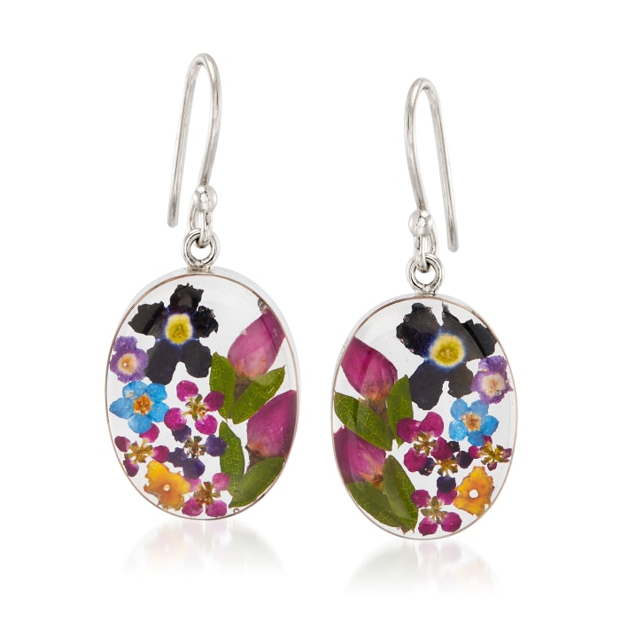 Dried Flower Oval Drop Earrings in Sterling Silver