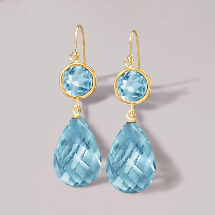 22.00 ct. t.w. Blue Topaz Drop Earrings in 14kt Yellow Gold