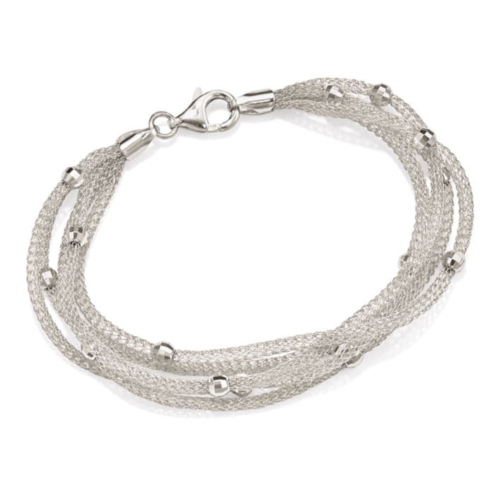 Italian Sterling Silver Five-Strand Beaded Mesh Bracelet