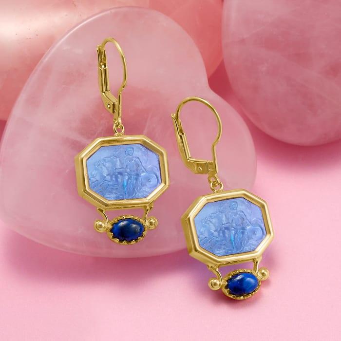 Italian Tagliamonte Blue Venetian Glass Intaglio and Lapis Drop Earrings in 18kt Gold Over Sterling