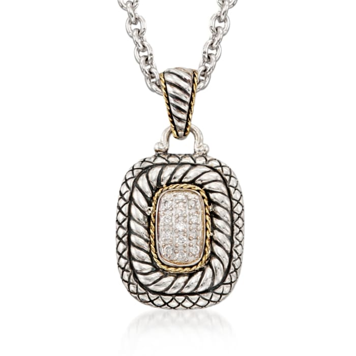 Andrea Candela .19 ct. t.w. Diamond Necklace in 18kt Yellow Gold and Sterling Silver