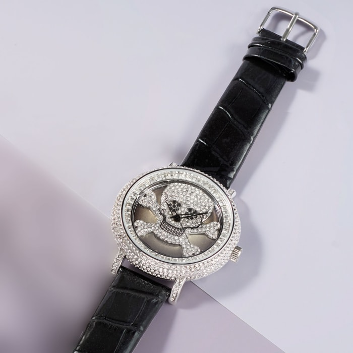 Saint James Women's 46mm White and Black Crystal Skull Watch with Black Leather