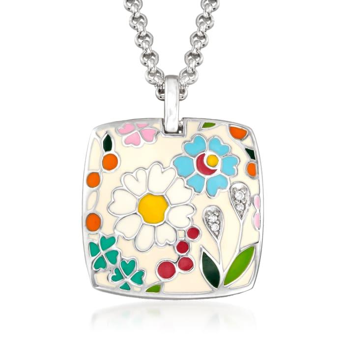 """Belle Etoile """"Flower Garden"""" Enamel Pendant in Sterling Silver"""