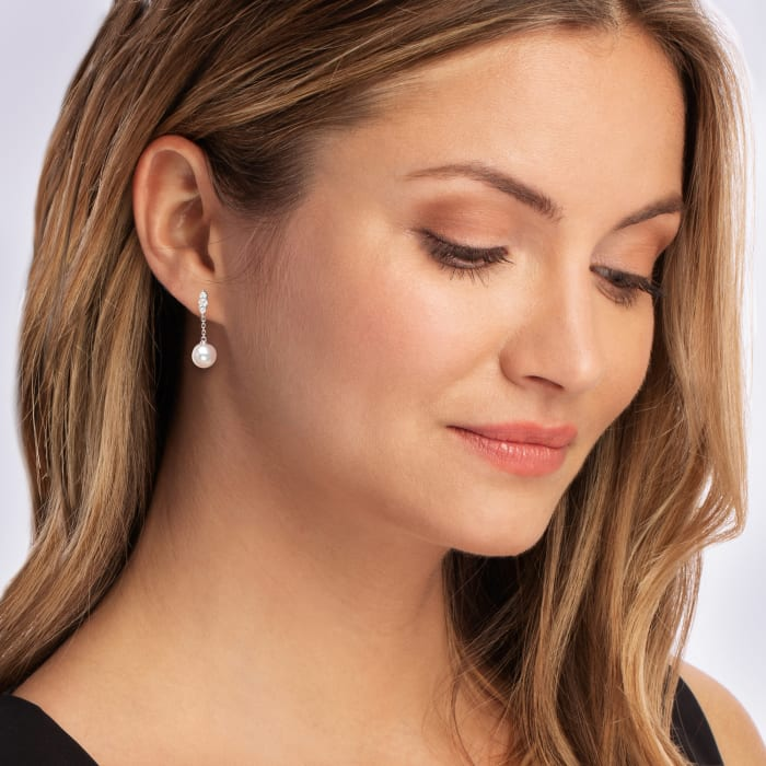 """Mikimoto """"Morning Dew"""" 7mm A+ Akoya Pearl and .19 ct. t.w. Diamond Drop Earrings in 18kt White Gold"""