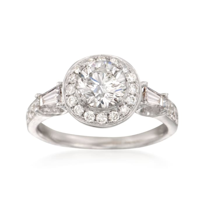 1.70 ct. t.w. Certified Diamond Halo Engagement Ring in 18kt White Gold
