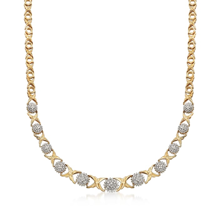 .50 ct. t.w. Diamond XO Necklace in 18kt Gold Over Sterling