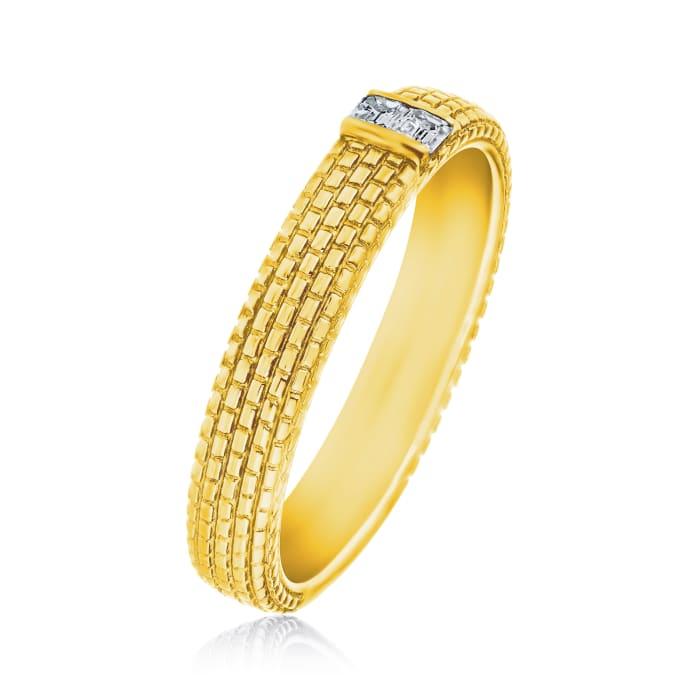 Men's .12 ct. t.w. Diamond Wedding Ring in 14kt Yellow Gold