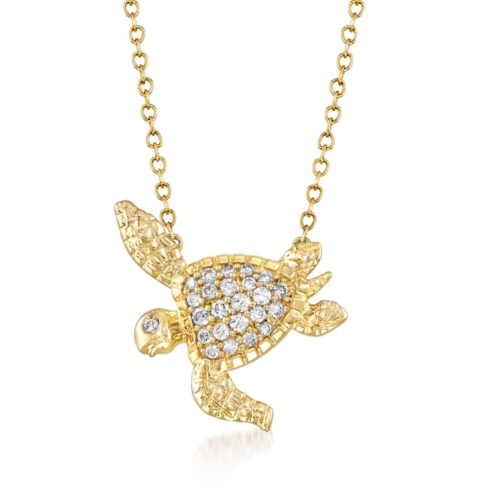 .25 ct. t.w. Diamond Turtle Necklace in 14kt Yellow Gold