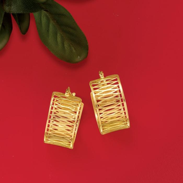 Italian 14kt Yellow Gold Openwork Hoop Earrings