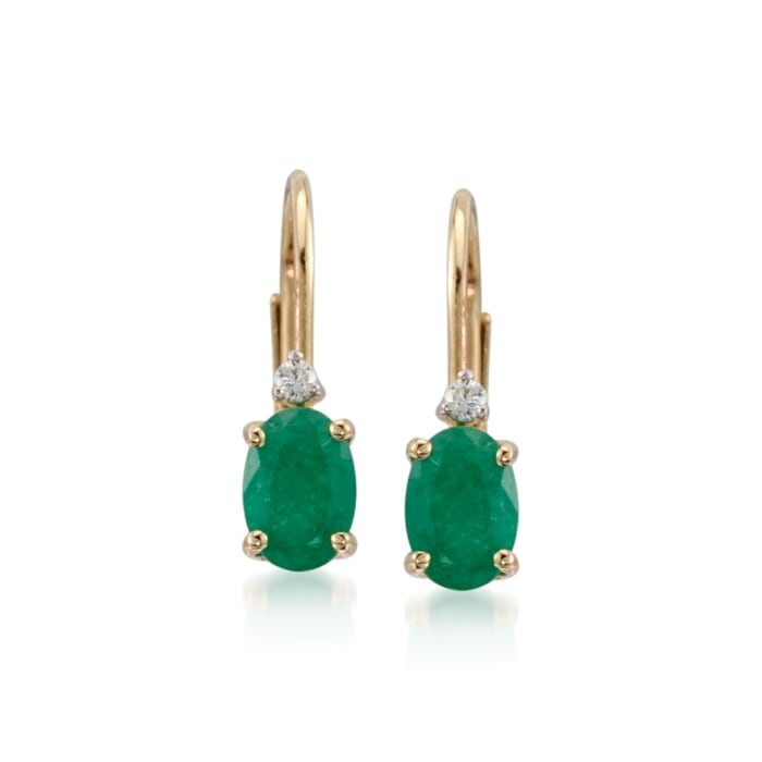 .80 ct. t.w. Emerald Earrings with Diamonds in 14kt Yellow Gold
