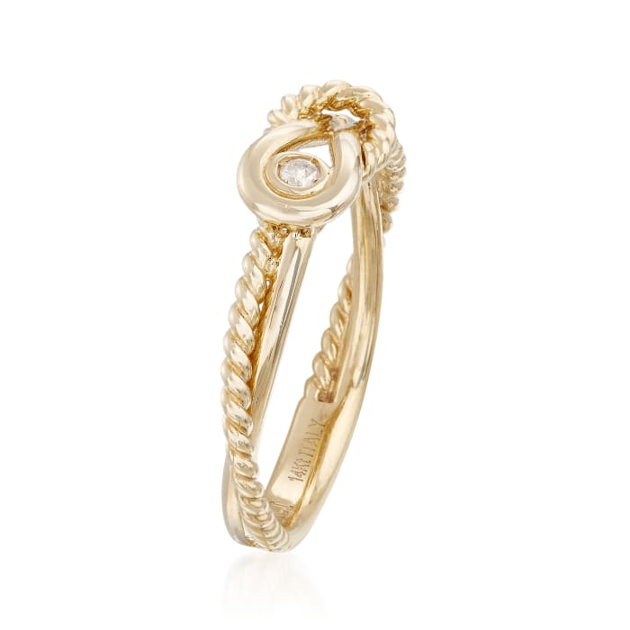 """Phillip Gavriel """"Italian Cable"""" 14kt Yellow Gold Ring with Diamond Accent"""