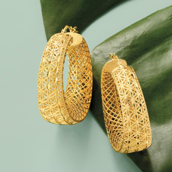 Italian 18kt Gold Over Sterling Openwork Hoop Earrings