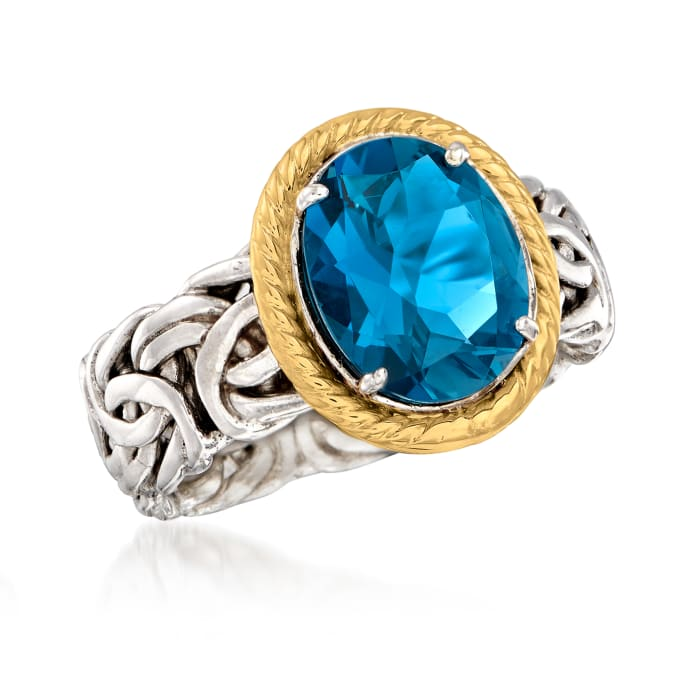 4.10 Carat London Blue Topaz Byzantine Ring in 14kt Yellow Gold and Sterling Silver