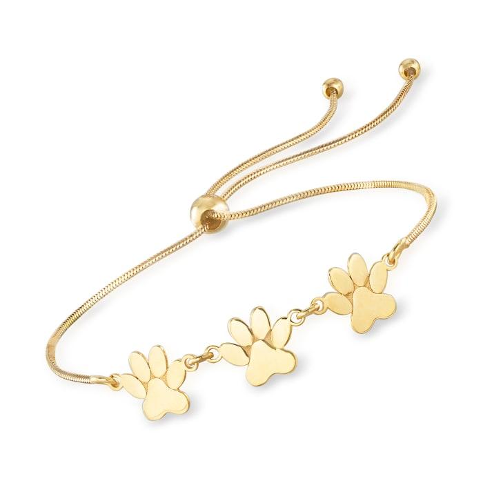 14kt Yellow Gold Paw Print Bolo Bracelet