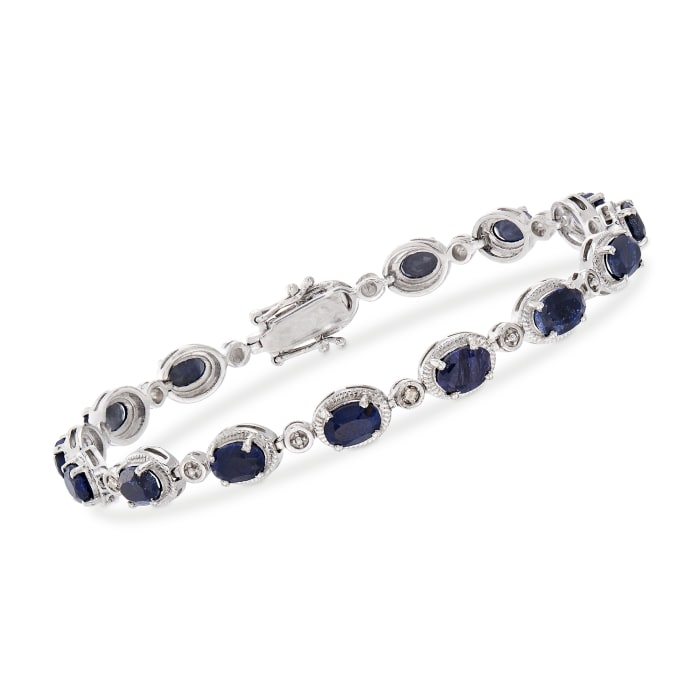 9.10 ct. t.w. Sapphire Bracelet with Diamond Accents in Sterling Silver