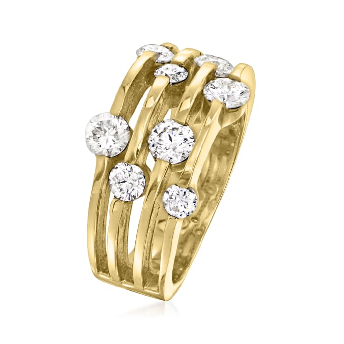 1.50 ct. t.w. Diamond Scattered Multi-Row Ring in 14kt Yellow Gold