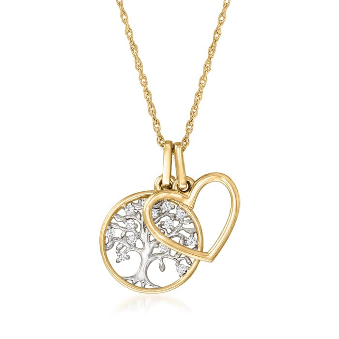 14kt Yellow Gold Tree of Life and Open-Space Heart Pendant Necklace with Diamond Accents