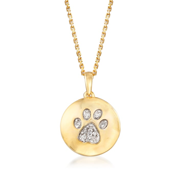 Paw Print Circle Pendant Necklace in 18kt Yellow Gold Over Sterling Silver