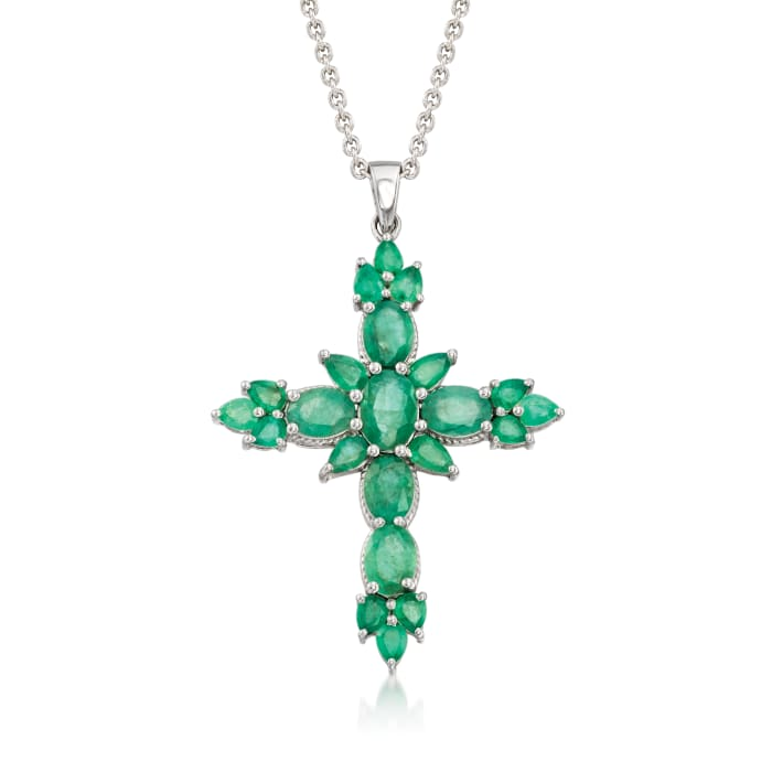 4.90 ct. t.w. Emerald Cross Pendant Necklace in Sterling Silver