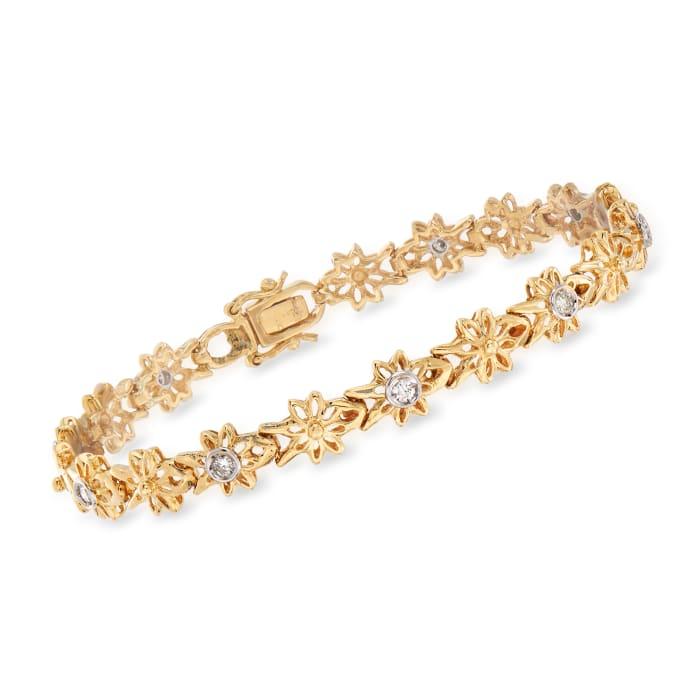 C. 1990 Vintage .29 ct. t.w. Diamond Floral Bracelet in 18kt Yellow Gold