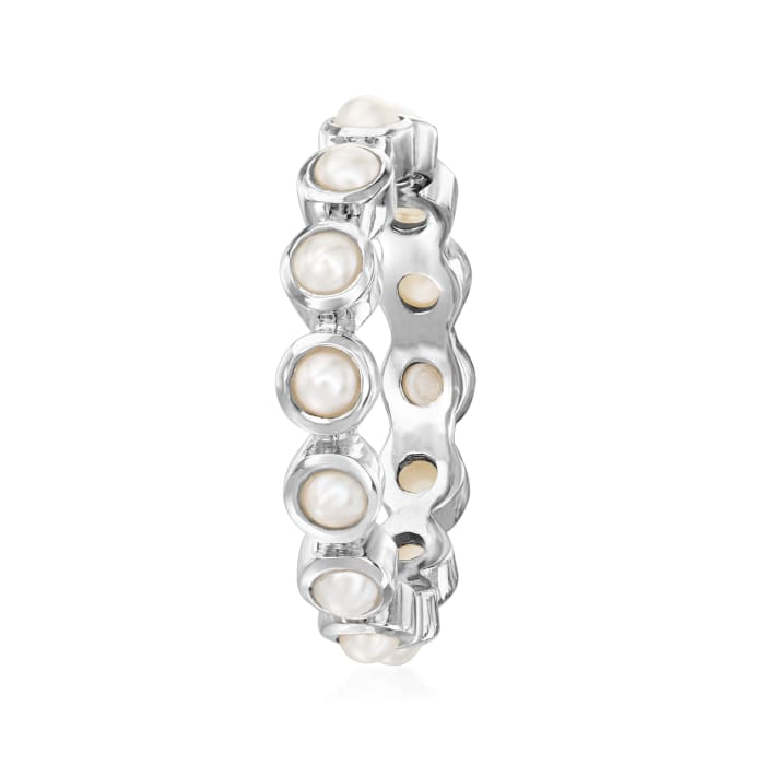 3mm Cultured Pearl Eternity Ring in Sterling Silver
