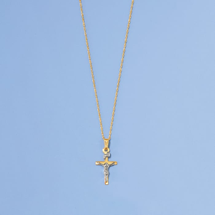 Child's Two-Tone Crucifix Pendant Necklace in 14kt Yellow Gold