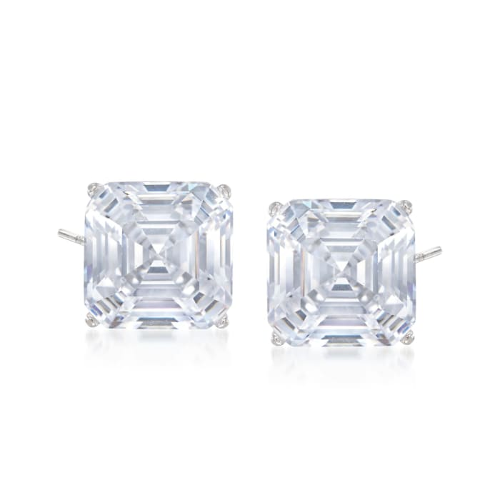6.00 ct. t.w. Asscher-Cut CZ Stud Earrings in 14kt White Gold